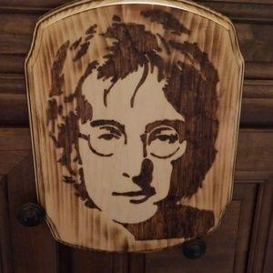 John Lennon Woodburned plaque
